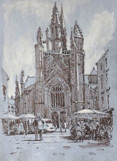 Guerande, pen and ink, drawing, sketch, France Rob Adams, Drawing Sketches, Drawings, Barcelona Cathedral, Ink, Etchings, Portrait, Artist, Art Ideas
