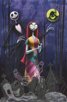 A great poster from Tim Burton's A Nightmare Before Christmas! Jack Skellington and Sally in their favorite haunt: a cemetery! Fully licensed. Ships fast. 22x34 inches. Check out the rest of our fun s