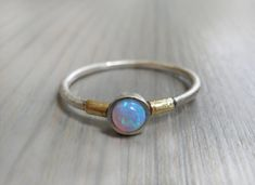 Opal Engagement Ring, Minimalist  Ring, Sterling Silver and gold Ring, Statement Ring, Bridal Jewelry