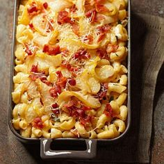 Bacon-Pear Macaroni and Cheese - Crispy bacon, extra-creamy cheese sauce, pears sauteed in brown sugar and butter. It took a Test Kitchen three tries to get all the pieces right. Oh man, was it worth it.