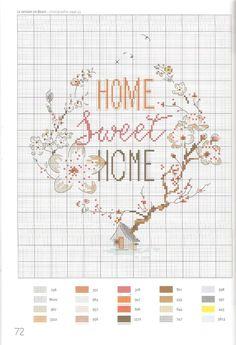 Cross-stitch pattern - Home Sweet Home Cross Stitch House, Just Cross Stitch, Cross Stitch Heart, Cross Stitch Samplers, Cross Stitching, Cross Stitch Embroidery, Cross Stitch Designs, Cross Stitch Patterns, Cross Stitch Flowers Pattern