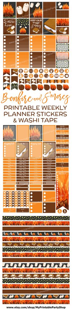 Bonfire and S'mores Themed Printable Fall Planner Stickers Perfect For October And November - Weekly - Vertical - Fits Erin Condren Life Planner https://www.etsy.com/listing/477501635/fall-planner-stickers-autumn-planner