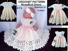 Crochet Pattern, Little RoseBud Girl's Dress: https://www.etsy.com/listing/225214231/crochet-pattern-girls-dress-baby-dress?ref=shop_home_active_12