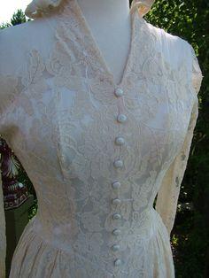 I like this one alot Etsy listing at https://www.etsy.com/listing/78935308/vintage-1940s-wedding-dress-ecru-lace