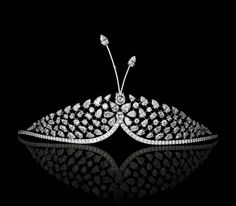 David Morris one-of-a-kind Butterfly Tiara in 18ct white gold with just under 35ct of pear- and round-shaped brilliant and rose-cut diamonds. The motif is detachable for two different looks (£POA).