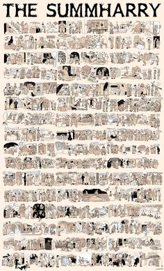 The entire HARRY POTTER saga in one image posted By Aidan Moher September 2nd, 2011 on A dribble of Ink Via Blastr, created by Lucy Kinsley:  It's great fun to be able to re-live the series through this fun image. The artist did a wonderful job of capturing the irreverence and charm of Rowling's characters and magical setting. HarryPotter0805112.jpg 2,481×4,096 pixels