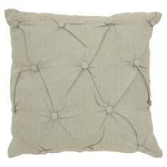 Linen throw pillow with a feather-down fill and button-tufted design.   Product: PillowConstruction Material: 100% Lin...