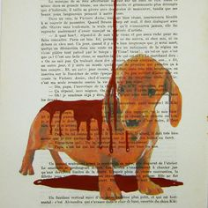 $10 Dripping chocolate on daschund- ORIGINAL ARTWORK Hand Painted Mixed Media on 1913 Parisien Magazine 'La Petit Illustration' by Coco De Paris
