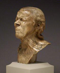 """Franz Xaver Messerschmidt (1736–1783),  """"Character Heads"""" Series. """"The Vexed Man"""",  Alabaster."""