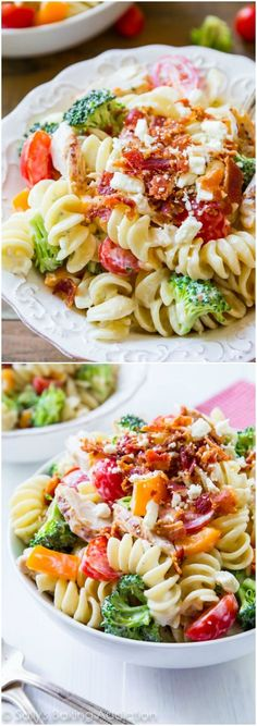 Creamy Bacon Chicken Pasta Salad -with a touch of feta cheese. Recipe via sallysbakingaddiction.com