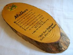 Vintage Mother's Plaque, 1960s, Wood Plaque, Mother Plaque, M is for the million, Mothers Day Gift, Retro Mother Plaque by VintagePlusCrafts on Etsy
