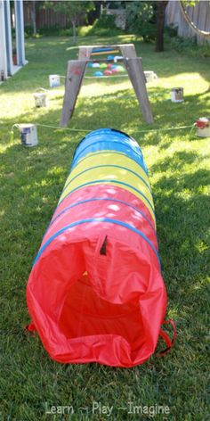 Ideas for creating an obstacle course in your own backyard using simple toys and household items.