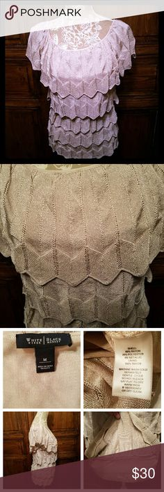 """WHBM Cream Metallic Tiered Sweater Medium White House Black Market tiered cream/beige sweater with lurex or metallic gold thread  Size Medium  rayon, polyester, metallic blend  Lined with rayon Measures approximately laying flat  Armpit to armpit 16"""" Length 26"""" White House Black Market Sweaters"""