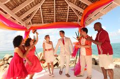 """""""Tropical"""" wedding theme I can choose for my vow renewal ceremony at the resort, may be too bold for my taste...but super Caribbean!"""