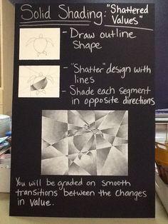 """Shattered"" values board example - Art Education ideas Value Drawing, Drawing Lessons, Drawing Drawing, High School Art, Middle School Art, 8th Grade Art, Value In Art, Art Curriculum, Principles Of Art"