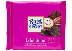 Ritter Sport, 71% cocoa- My favorite dark chocolate!  I use it for snacking and baking.  Real ingredients too!