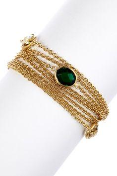 18K Gold Clad Multi-Chain Golden Olive & Emerald Crystal Magnetic Clasp Bracelet