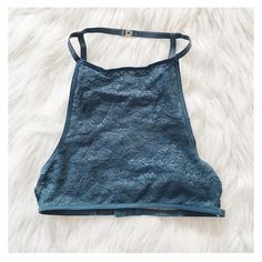 Dusty Blue Lace Halter Bralette Lace Crop Top Brand new halter Bralette with snatch neck closure and adjustable back strap Nasty Gal Intimates & Sleepwear Bras