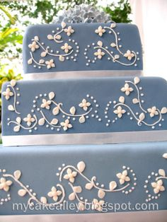 Fondant covered square cake with royal icing swirls. Blue Square Wedding Cakes, Square Cakes, Cake Shop, Royal Icing, Swirls, New Baby Products, Cake Decorating, Decorative Boxes, Christening Cakes