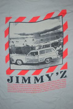 Vintage 90s JIMMY'Z Woody & The Bomb Rare Skateboard Surfing T-shirt