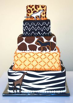 African Style Tower Cake by CakeSuite Westport CT African Wedding Cakes, African Wedding Theme, African Weddings, Traditional Wedding Cakes, Traditional Cakes, Africa Cake, Lemon Mug Cake, Cupcakes Decorados, African Fashion