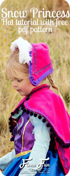 This free Princess Anna Hat tutorial with free pdf sewing pattern is perfect to finish off a Frozen costume.  So cute!