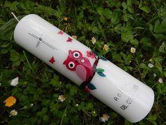 11 Taufkerze Kommunionkerze Eule Mädchen Rot  von Lenz  Kerzen auf DaWanda.com