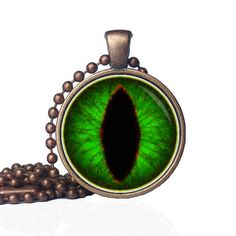 Emerald Cat Eye - Green Eye - Cat Eye Necklace - Dragon Eye Jewelry- Lizard Eye Necklace - Dinosaur Jewelry - Third Eye Necklace by KingFamilyCreations
