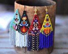 Beaded necklaces & bracelets, tassel & hoop earrings by UkrainianJewelryShop Seed Bead Jewelry, Seed Bead Earrings, Fringe Earrings, Unique Earrings, Diy Earrings, Earrings Handmade, Seed Beads, Handmade Jewelry, Beaded Necklace