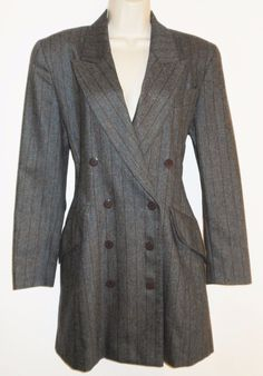ESCADA 36 6 Wool Cashmere Coat Gray Striped Double Breasted Blazer Jacket #ESCADA #DoubleBreasted #Business