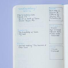 Em vez de um layout mensal (ou além dele), você também pode criar espaços para rastrear todos esses hábitos no seu destaque diário. Aqui está um exemplo de como ele pode ser:
