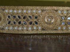 Gold Kundan Lace - Stone Work Border By Yard - Glass Bead Work Embellishment / Border / Ribbon By Yard