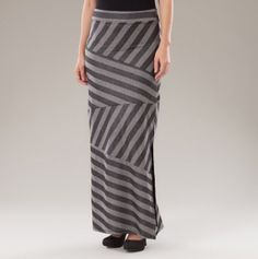 Zig Zag and Striped Maxi Skirt with Split
