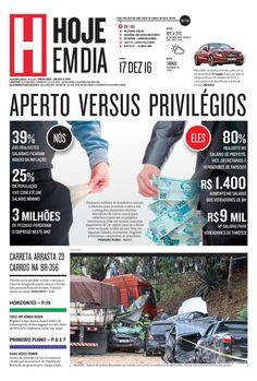 Capa do dia 17/12/2016 #HojeEmDia #Jornal #Notícias #News #Newspaper
