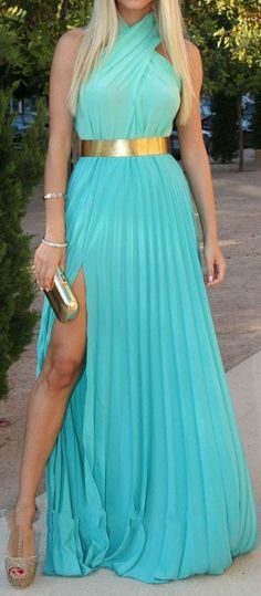 Tiffany Blue Halterneck Sleeveless Pleated Maxi Dress but I want a silver belt because I already have a cool silver purse to go with it.