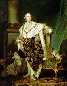 """Louis XVI (1754-1793) was King of France and Navarre from 1774 until 1791 and King of the French from 1791 to 1792, before his deposition and execution during the French Revolution. His father, Louis, Dauphin of France, was the son and heir of Louis XV of France. As a result of the Dauphin's death in 1765, Louis succeeded his grandfather in 1774 - """"Portrait officiel du roi de France et de Navarre, Louis XVI, en habit de sacre"""" by Joseph-Siffrein Duplessis  (1777), Musée du Carnavalet, Paris"""