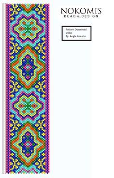 Delia Peyote Stitch Bracelet Pattern by NokomisBeadAndDesign Peyote Beading Patterns, Peyote Stitch Patterns, Seed Bead Patterns, Beaded Bracelet Patterns, Loom Beading, Crochet Patterns, Beaded Banners, Bead Crochet Rope, Bookmarks
