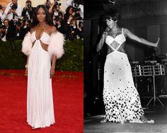 Naomi Campbell in Givenchy Campbell can pull off a white cut-out gown just as well as Shirley Bassey. #MetGala2014