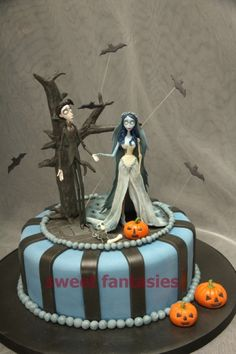 Halloween Wedding Cake with Tim Burton's Corpse bride characters Victor and Emily with Scrapes (the dog)!