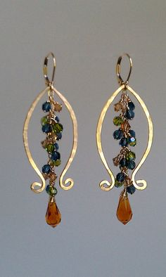 Lyre, Lyre Earrings 14K gold Fill and Swarovski Crystal Unique Earrings Fall Color Scheme