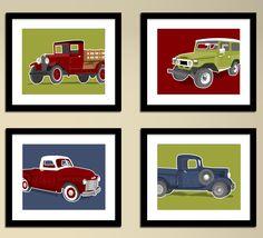 Vintage Truck wall art - retro truck prints - set of 4 childrens art prints - pick your colors, boys wall art nursery art prints for boys. via Etsy.