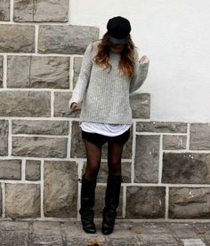 Love the layers of oversized clothes