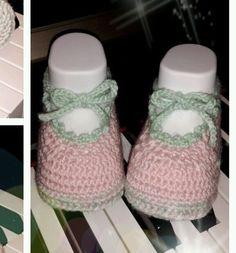 Scarpine uncinetto ballerine in lana per neonata : Moda bebè di crochet-tatting-and-co-by-ale