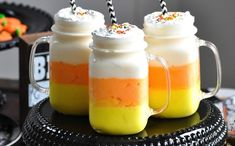 Candy Corn Milkshakes for Halloween!