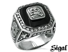 David Sigal Mens Skull Ring with Black Crystals in Stainless Steel for only $49.99 You save: $50.01 (50%)