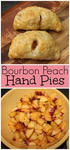 Bourbon Peach Hand Pies - Mini peach hand pies made with fresh peaches, flaky pie crust, and a hint of bourbon Fried Peach Pies, Mini Peach Pies, Fried Pies, Mini Peach Cobbler, Köstliche Desserts, Delicious Desserts, Dessert Recipes, Plated Desserts, Summer Desserts