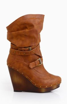 Buckle Wedge Boots  $74.99