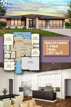 Architectural Designs Exclusive Modern Prairie House Plan 85247MS   3 - 4 beds   3 baths   2,500+ Sq.Ft.   Ready when you are. Where do YOU want to build? #85247MS #adhouseplans #architecturaldesigns #houseplan #architecture #newhome #newconstruction #newhouse #homedesign #dreamhome #homeplan #architecture #architect #housegoals #house #home #design #modern #prairiehome #prairiestyle #franklloyd #franklloydwright #exclusive