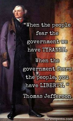 FAKE.  It appears in none of Jefferson's works.  The earliest known appearance in print: 1914, earliest known appearance in print, attributed to Thomas Jefferson: 1994. http://www.monticello.org/site/jefferson/when-government-fears-people-there-libertyquotation