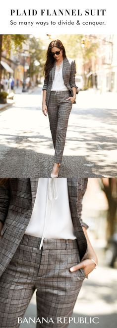 Make an entrance in our classic pant suit silhouette in a chic plaid flannel finish. Wear it together or as separates you definitely can not go wrong | Banana Republic #womenpantssuits